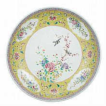 Chinese Yellow Ground Famille Rose Glazed Porcelain Charger