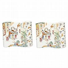 Two Chinese Enameled Porcelain Wall Vases