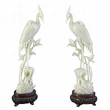 Pair of Chinese Celadon Jade Figures of Cranes