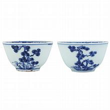 Two Similar Chinese Blue and White Glazed Porcelain Cups