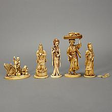 Group of Five Japanese Ivory Okimono
