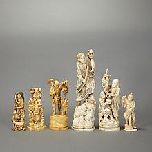 Group of Six Japanese Ivory Okimono
