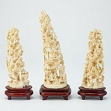 Group of Three Chinese Ivory Carvings of Mountain Landscapes