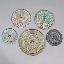Group of Five Chinese Bronze Mirrors