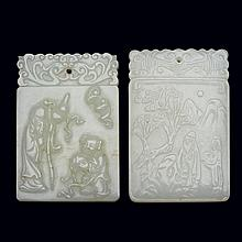 Two Chinese White Jade Plaques