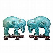 Pair of Chinese Turquoise Glazed Pottery Elephants