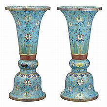 Pair of Chinese Cloisonne Enameled Vases