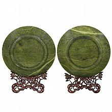 Pair of Chinese Spinach Jade Dishes