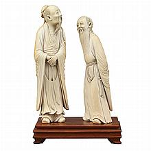 Two Chinese Ivory Figures of Sages