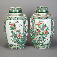 Two Similar Chinese Famille Verte Glazed Porcelain Covered Vases