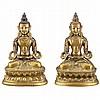 Two Similar Sino-Tibetan Gilt-Bronze Seated Bodhisattvas