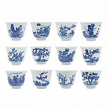 Set of Twelve Chinese Blue and White Glazed Porcelain Cups