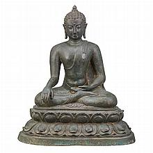 Burmese or Indian Bronze Seated Buddha