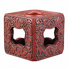 Asian Cinnabar Red Lacquered Stand