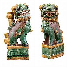Pair of Chinese Sancai Glazed Pottery Foo Lion Joss Stick Holders