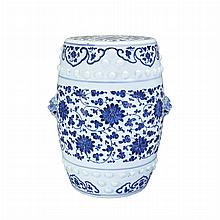 Chinese Blue and White Glazed Porcelain Garden Stool