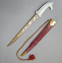 Indian Mughal Style Jade and Damascene Dagger