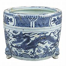 Chinese Blue and White Glazed Tripod Censer