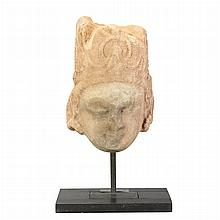 Northwest Indian White Marble Head of Siva