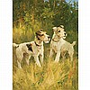 Arthur Wardle British, 1864-1949 Two Fox Terriers in a Landscape, Arthur Wardle, $3,500