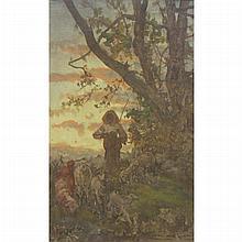 Attributed to Giuseppe Palizzi Shepherd Tending His Flock