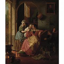 Basile de Loose Belgian, 1809-1885 Playing with Baby, 1836