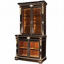 Napoleon III Gilt-Metal, Brass and Porcelain Ebonized Cabinet