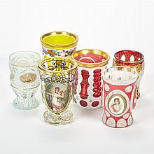 Group of Bohemian and Bohemian Style Glass Goblets