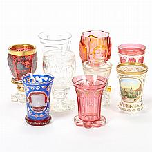Group of Nine Bohemian Glass Goblets and Beakers