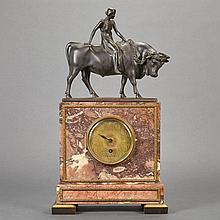 German Parcel Gilt and Patinated-Bronze and Marble Mantel Clock