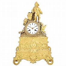 Louis Philippe Gilt and Patinated-Metal and Brass Mantel Clock