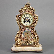 French Champleve Enameled and Gilt-Metal Mounted Mantel Clock