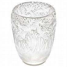 R. Lalique Molded Glass Aigrettes Vase
