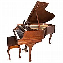 Steinway & Sons Mahogany Baby Grand Piano; Together with a Steinway & Sons George III Style Mahogany Bench
