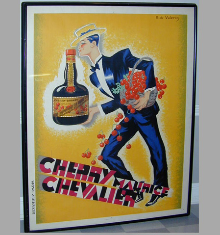 Roger de Valerio CHERRY MAURICE CHEVALIER Color lithograph poster