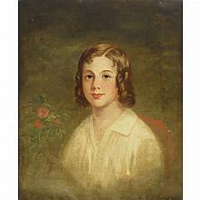 American School 19th/20th Century Portrait of a Girl with Roses