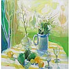 Jack Baker American, 1925-2011 Still Life with Pears, Lemons, Wine Glasses and Flowers on a Table Top