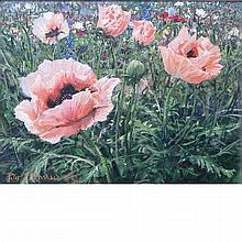 Peter Ellenshaw British/American, 1913-2007 Poppies in Monet's Garden, Giverny, France, 1983