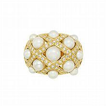 Gold, Cultured Pearl and Diamond 'Baroque' Ring, Chanel, France