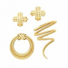 Gold 'Scribble' Pin, Tiffany & Co., Paloma Picasso, and Pair of Gold Earrings and Circle Pin, Tiffany & Co.