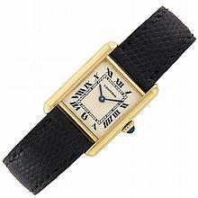 Lady's Gold Tank Wristwatch, Cartier, Paris