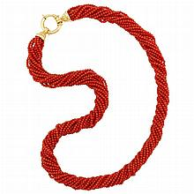 Multistrand Coral Bead Torsade Necklace with Gold Clasp