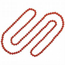 Long Coral Bead Necklace