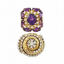 Gold and Diamond Dome Ring and Amethyst and Diamond Ring