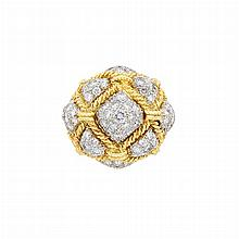 Two-Color Gold and Diamond Dome Ring, Hammerman Bros.
