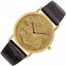 Gentleman's Gold and U.S. Twenty Dollar Gold Coin Wristwatch, Corum