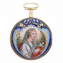 Antique Gold and Portrait Enamel Fusee Open Face Pocket Watch