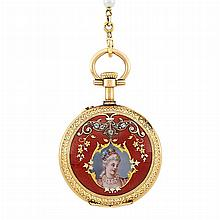 Antique Gold, Enamel, Portrait Miniature and Seed Pearl Pendant-Watch Necklace