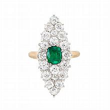 Antique Gold, Platinum, Synthetic Emerald and Diamond Ring