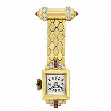 Gold, Platinum, Cabochon Ruby, Ruby and Diamond Lapel-Watch